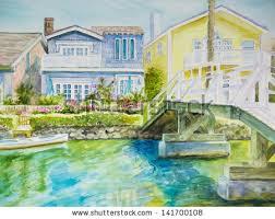 pretty houses white wooden bridge leads pretty houses stock illustration 141700108
