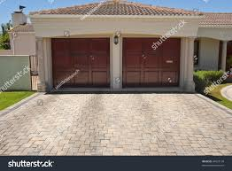 wooden brown double garage doors big stock photo 44523130