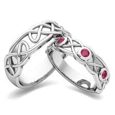 Ruby Wedding Rings by My Love Matching Wedding Band In 18k Gold Celtic Ruby Wedding Ring