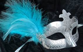 masquerade masks with feathers silver turquoise diamonte feather half mask