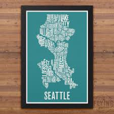 Map Of Seattle Neighborhoods by Seattle Neighborhod Typography City Map Print U2013 Flying Junction Co