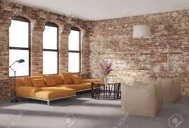 Orange Sofa Living Room by Contemporary Stylish Loft Interior Brick Walls Orange Sofa Stock