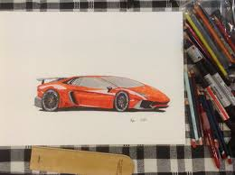 first lamborghini aventador lamborghini aventador first drawing with letraset pro markers
