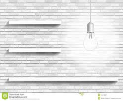 shelves for brick walls lamp and shelves on the brick wall background stock photo image