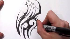 how to draw a wolf incorporated into a tribal tattoo design youtube
