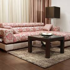 Pink Sectional Sofa Furniture Pink Floral Sectional Sofa With Square Wooden Table On