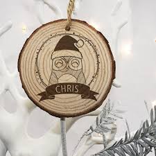christmas tree personalised wooden owl decoration u2013 luxe gift store