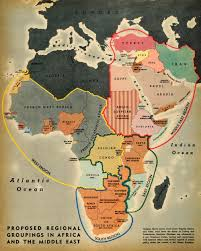 Current Map Of Middle East by 1944 Print Map Africa Groupings Indian Ocean Atlantic French Congo