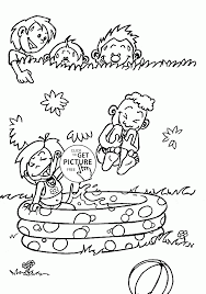 kids in the summer playing water coloring page for kids seasons
