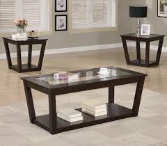 Glass Modern Coffee Table Sets Fenmore Brown Glass Coffee Table Set A Sofa Furniture