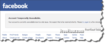 Site Unavailable - facebook account temporary unavailable due to site issue fix