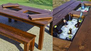 Cool Patio Tables Diy Patio Table With Built In Drink Cooler Diy Cozy Home