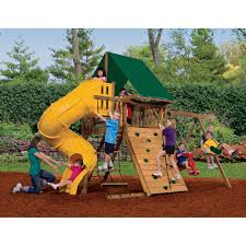 playstar playsets dynasty wood swing set with spiral tube slide