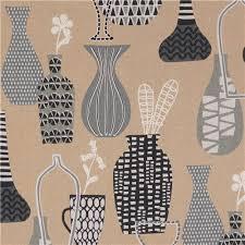 Pretty Vase Brown Lecien Canvas Fabric Pretty Vase Retro Fabric Fabric