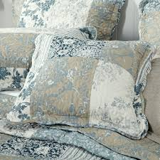 matilda blue toile quilted bedspread online shop