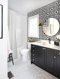 toronto black and white trees wallpaper bathroom traditional with