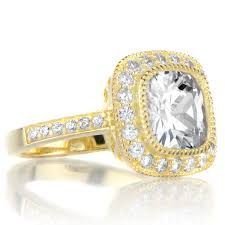 gold cushion cut engagement rings vintage style cushion cut cz engagement ring goldtone