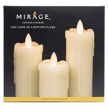 3pc battery operated led pillar candle set mirage target