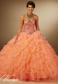 orange quinceanera dresses jeweled beading on organza petal skirt quinceanera dress style