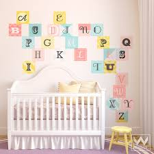 Fabric Wall Decals For Nursery Wood Block Alphabet Letters Tiles Wall Print Fabric Wall Decal