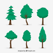 pack of trees in 2d style vector free