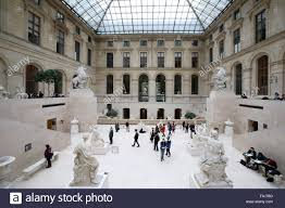 cour marly sculpture room inside the louvre museum paris france