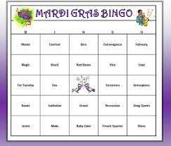 mardi gras bingo mardi gras party bingo carnivale theme bingo words and