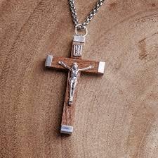 crucifix necklace mens images Mens crucifix necklace wooden crucifix necklace catholic jewelry jpg