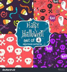 halloween background patterns set four seamless patterns hand drawn stock vector 468851312