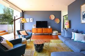 Blue Sofa In Living Room Amazing And Comfortable Mid Century Living Room Decohoms