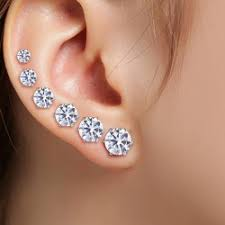 diamond stud sizes wholesale 6 pcs different sizes stud earrings in