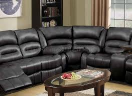 9241 reclining sectional sofa in black bonded leather