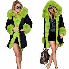 roiii plus size womens winter faux fur hooded