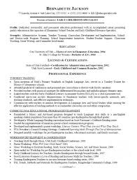 Employment Specialist Resume Childhood Specialist Resume
