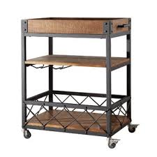 industrial iron wood kitchen trolley natural black buy kitchen modern kitchen islands carts allmodern