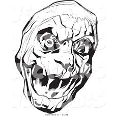 vector of a scary mummy head black and white art by lawrence