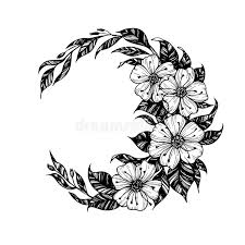 vector illustration moon sign with flowers and leav