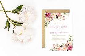 foil sted wedding invitations boho wedding invitations painted flower invitations