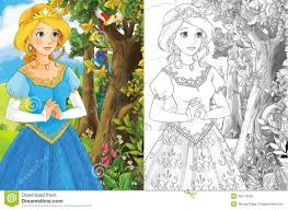 the sketch coloring page artistic style fairy tale stock photo