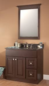 half round brown stained wooden vanity with shelves and storage