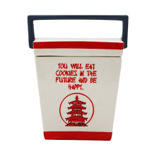 chinese food take out carton cookie jar ceramic kitchen