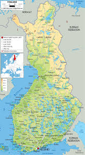 Physical Map Of Italy by Large Detailed Physical Map Of Finland With All Cities Roads And