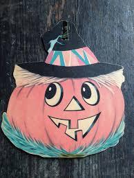 vintage halloween jolly jack o lantern die cut scarecrow