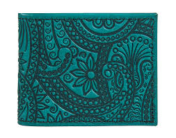 leather women s wallet pattern leather bi fold women s wallet paisley oberon design