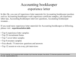 Sample Resume For Bookkeeper by Accounting Bookkeeper Experience Letter 1 638 Jpg Cb U003d1408681611