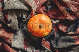 autumn pumpkin on stylish scarf fabric flat lay space for text