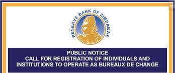 bureaux change rbz invites companies and individuals to register for bureaux de