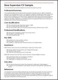 Supervisor Resume Sample Free by Door Supervisor Cv Sample Myperfectcv