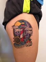 thigh tattoos quotes lighthouse tattoo by joshua ross at mind u0027s eye tattoo in emmaus