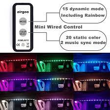 Led Light For Car Interior Airgoo Rainbow Car Led Light Strip Music Activated Interior Car